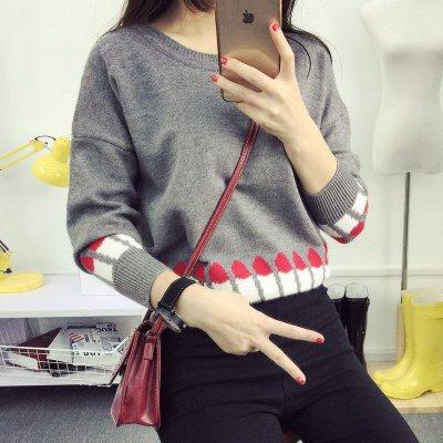 韩文2015秋装新款韩版套头长袖毛衣可爱口红学生装