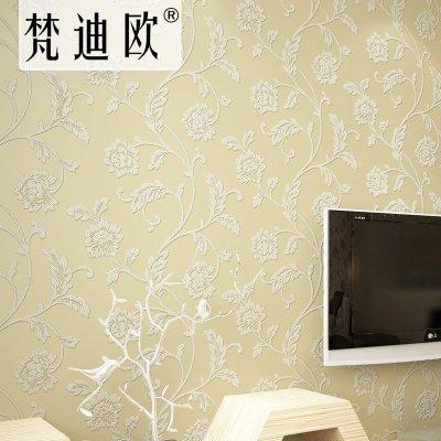 欧式无纺布简约现代卧室客厅电视背景墙墙纸