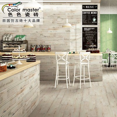 咖啡厅休闲吧英文字母图案背景墙欧式复古木纹砖墙地砖bm15916