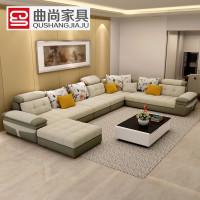 曲尚(Qushang) 沙发 布艺沙发 客厅沙发 转角组合沙发 大小户型布沙发8621