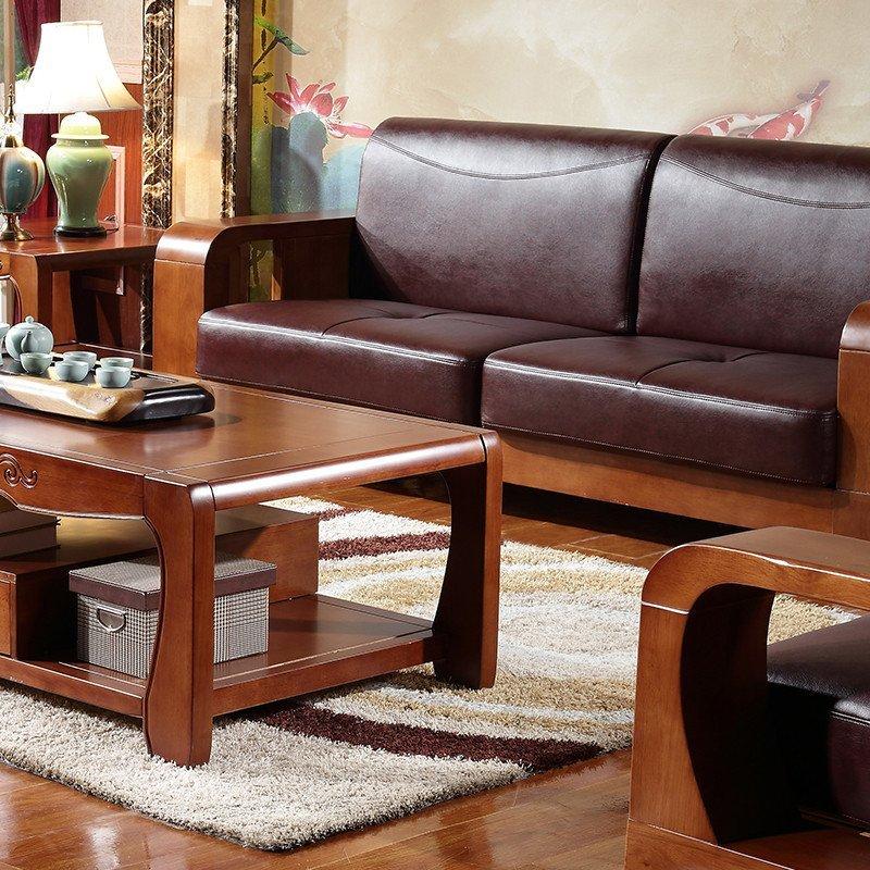 实木沙发高端皮沙发现代中式客厅组合沙发实木家具 实木皮质沙发 茶