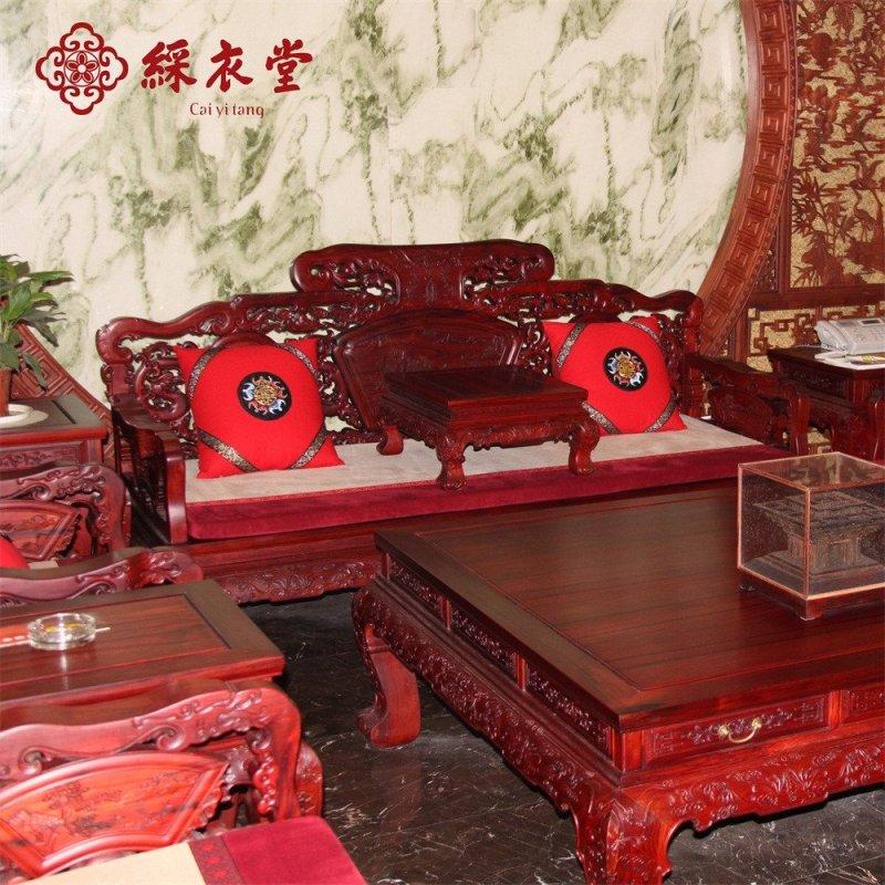 彩衣堂 定做红木家具坐垫沙发垫套装中式刺绣坐垫抱枕