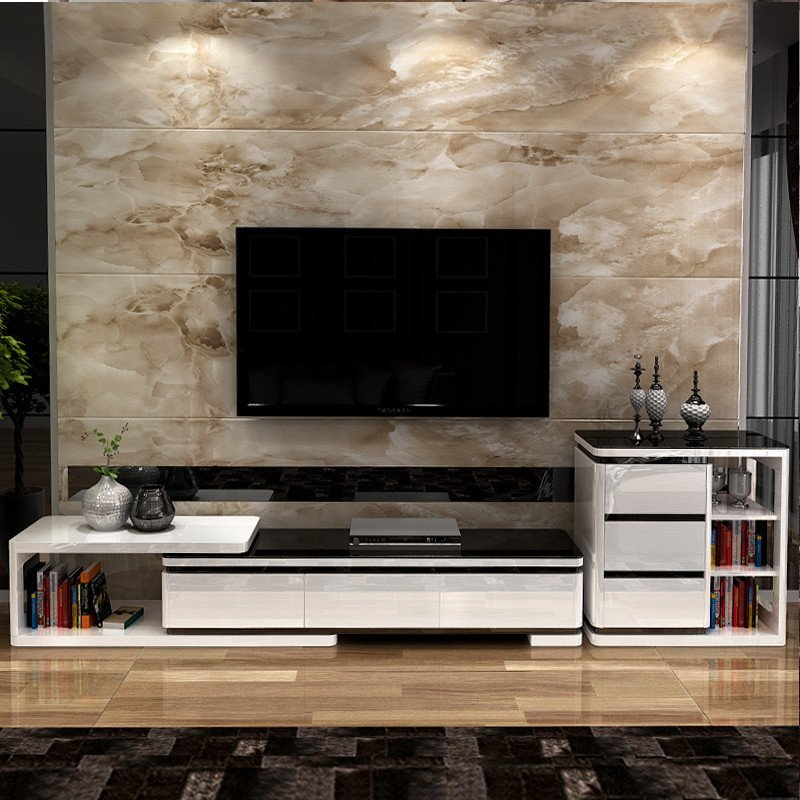 钢化玻璃电视柜简约现代组合时尚伸缩欧式电视机柜客厅 创意环保 层