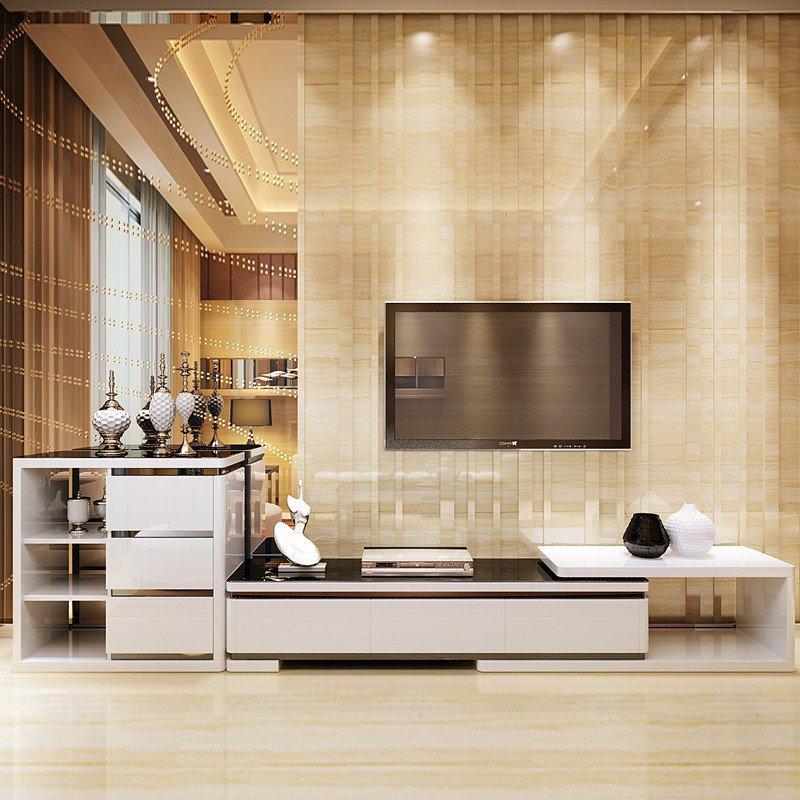 钢化玻璃电视柜简约现代组合时尚伸缩欧式电视机柜客厅 创意环保 层架
