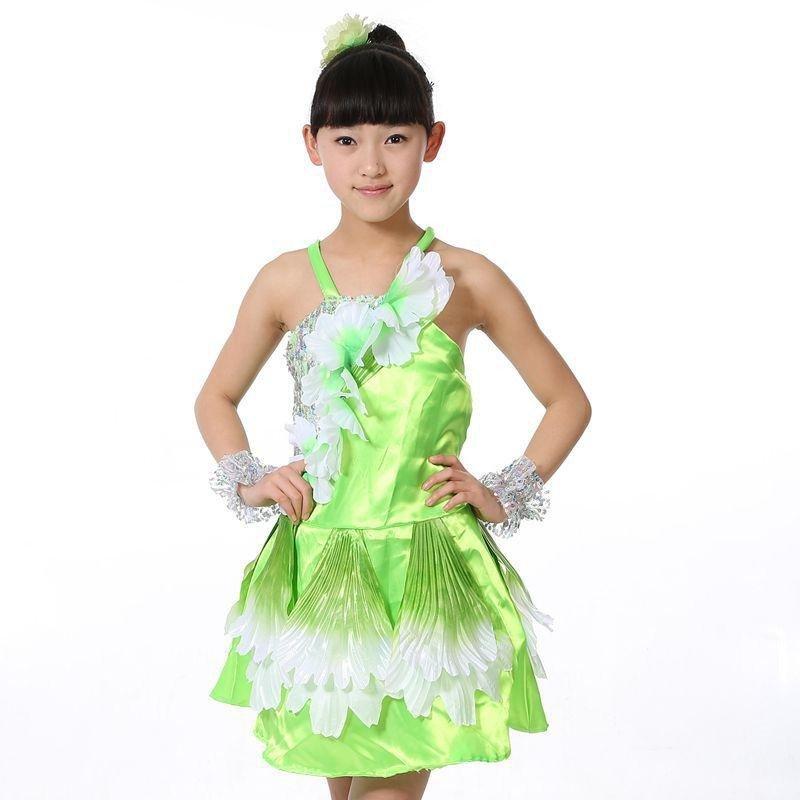 时尚儿童小学生幼儿园表演舞蹈裙个性舞台演出服装现代舞可爱树叶舞台