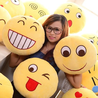 抱枕qq大表情微信表情动漫emoji圆形家居靠垫枕公仔创意现货办公室