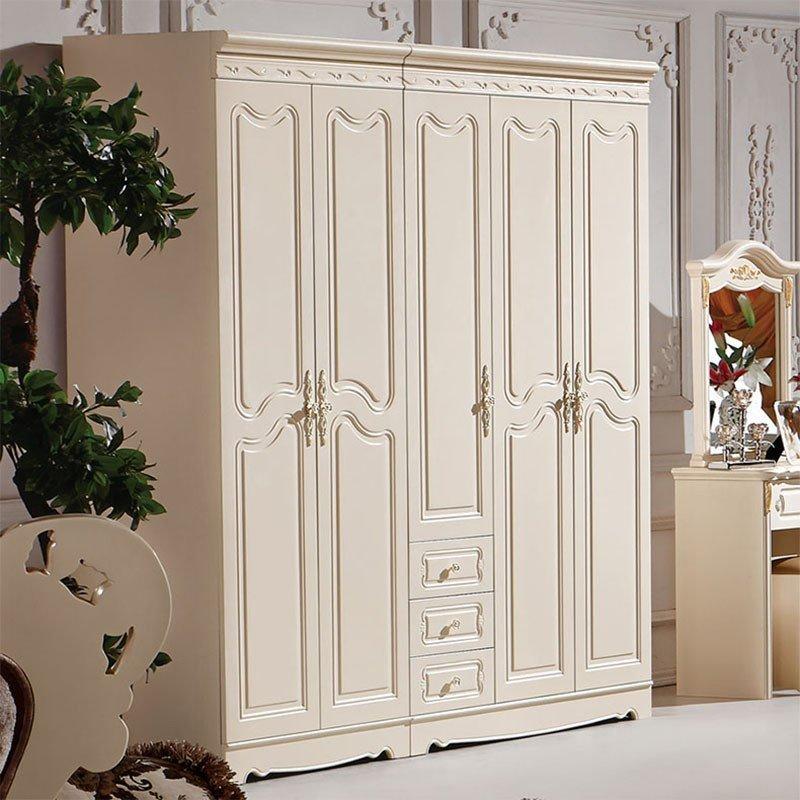 左森木格欧式衣柜田园二门三门四门五门衣柜实木家具整体衣橱a668