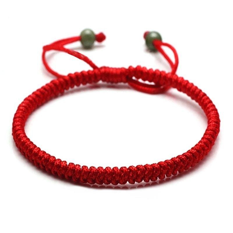 缘目金刚结编织 红色红绳手工手链