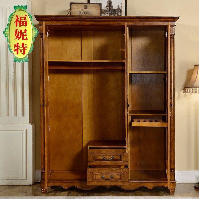 福妮特家具 三门衣柜整体立柜 美式乡村卧室木质大容量衣橱 欧式实木