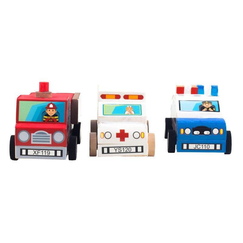 3-6岁以上宝宝diy涂色画画上色玩具木质 diy救援车救护车警察车消防车
