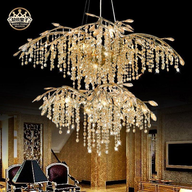 美式复古创意艺术田园树枝别墅复式楼水晶吊灯主卧室客厅大气灯具 c