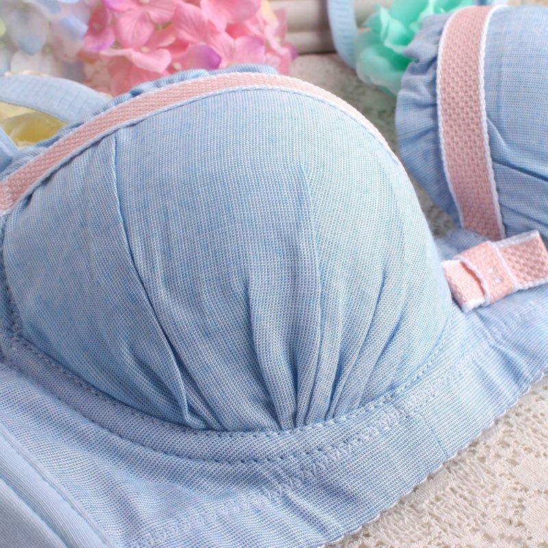 2016新款日系可爱少女糖果色文胸套装聚拢小胸学生日系棉内衣套装34