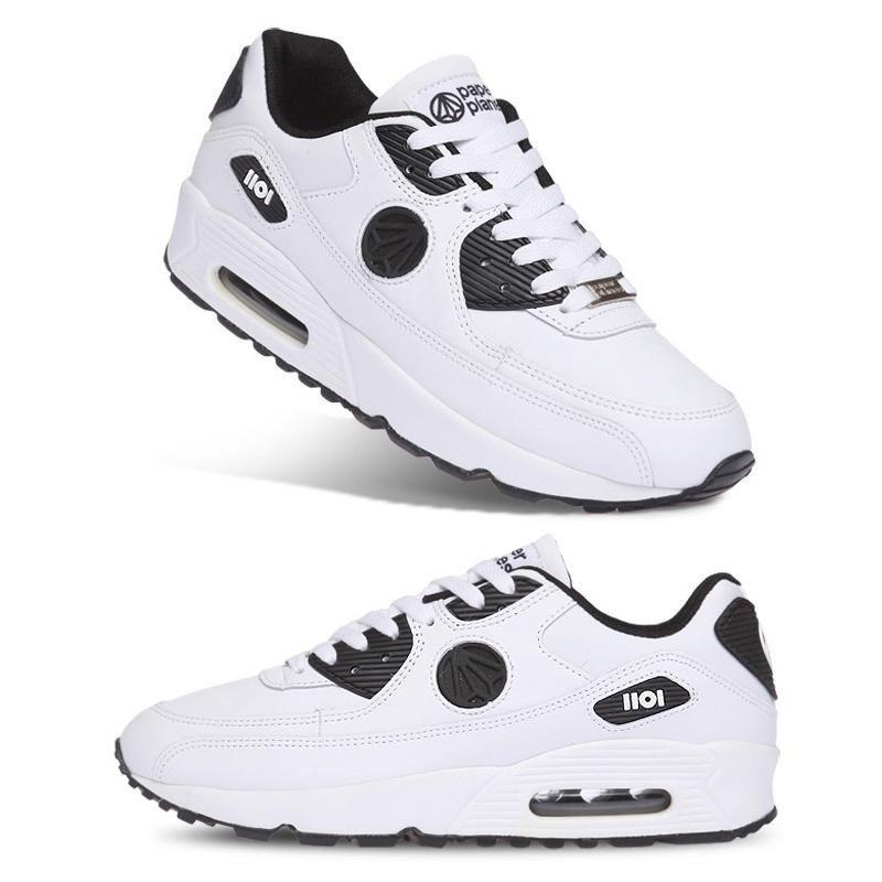 [纸飞机]100%韩国正品pp1101 男女情侣气垫运动鞋 _wb 白黑色 45.