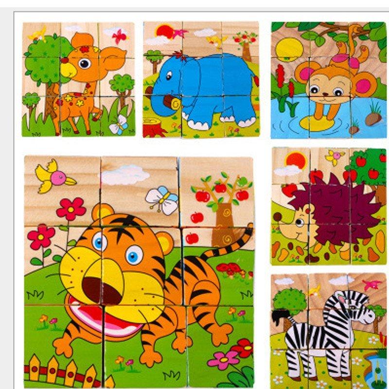 9粒六面画森林动物3d立体拼图木制积木儿童益智玩具创意礼品0.