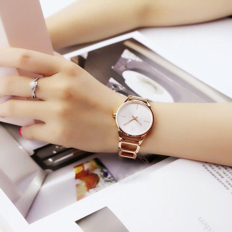 新款ck手表女正品时尚商务休闲折叠扣夜光圆形女款表
