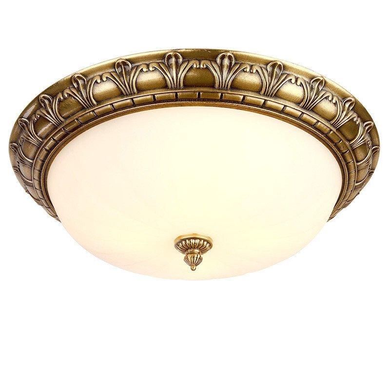 欧式全铜吸顶灯 卧室玄关阳台过道圆形灯具美式门厅田园吸顶灯 8010高