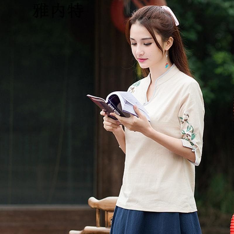 雅内特2016女装民族风文艺范素麻手绘印花盘扣七分袖衬衣t恤 l 白色