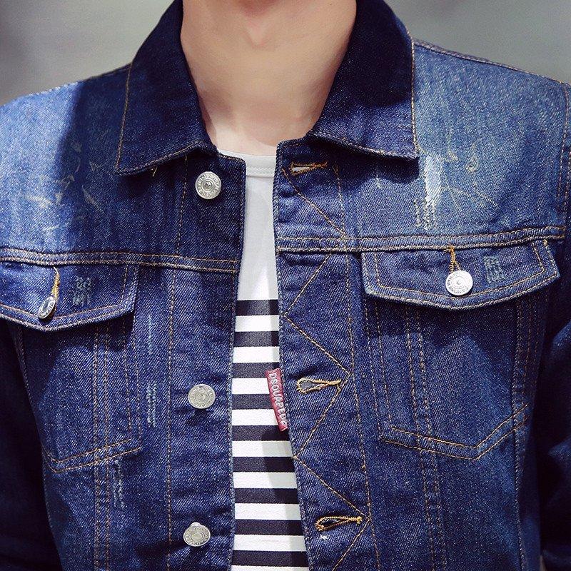 新款男士修身外套时尚潮流韩版青春单色休闲牛仔夹克男418 m 深蓝色
