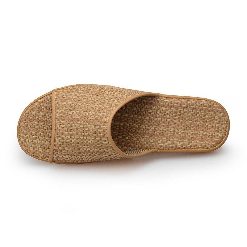 pansy盼洁日本春夏季情侣男女拖鞋 一字型环保编织中跟平跟竹席凉拖