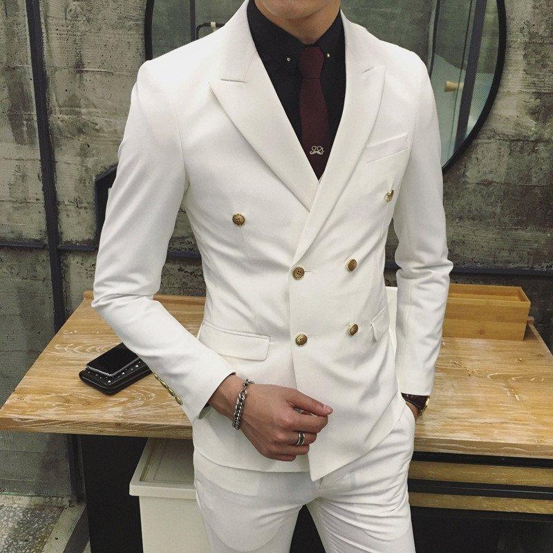 2016春装新款 韩版纯色双排扣西装套装 男修身小西服男士潮 2xl 白色