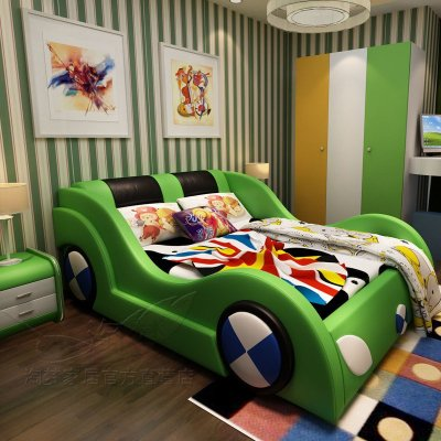 儿童床男孩 创意真皮床卡通赛车跑车汽车床女孩1.5家具个性房现货 1.
