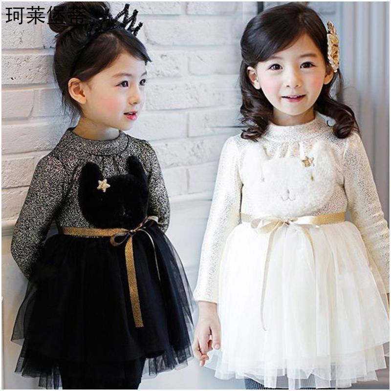 连衣裙2016春女童连衣裙 长袖可爱公主纱裙宝宝卡通裙子 130cm 白色