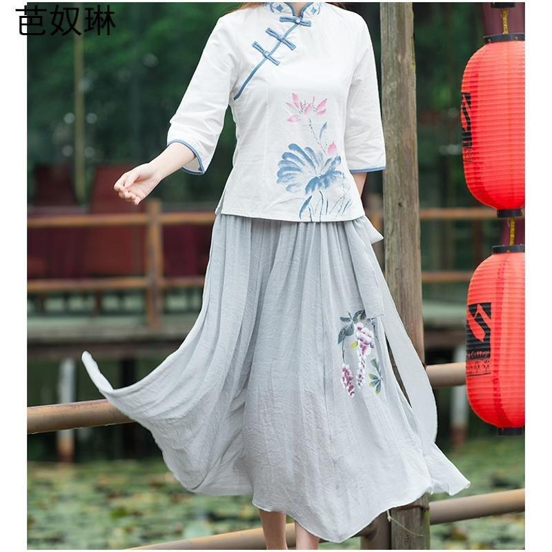 芭奴琳 2016新款民族风手绘印花半身裙长裙大摆裙fz9719540 均码 灰色