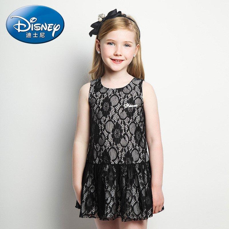 绿盒子童装 迪士尼公主 2016夏装儿童裙子女童蕾丝连衣裙 120cm 黑色r
