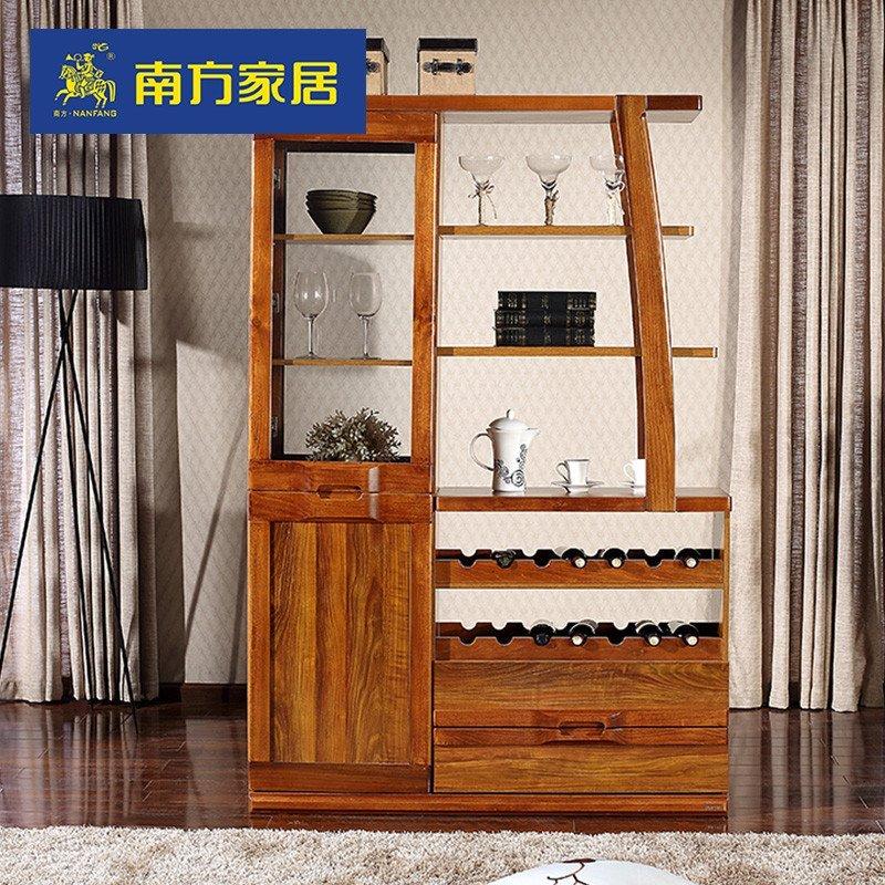 隔断柜展示柜酒柜储物柜子实木家具 虎纹色【多功能实木边框间厅柜】