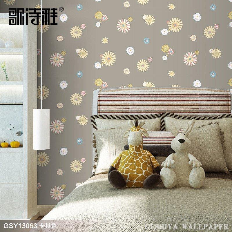 现代简约田园墙纸儿童房间温馨女孩卧室壁纸小碎花朵