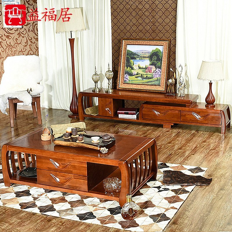 益福居 实木电视柜水曲柳橡木 客厅家具组合实木茶几电视柜 带抽屉可