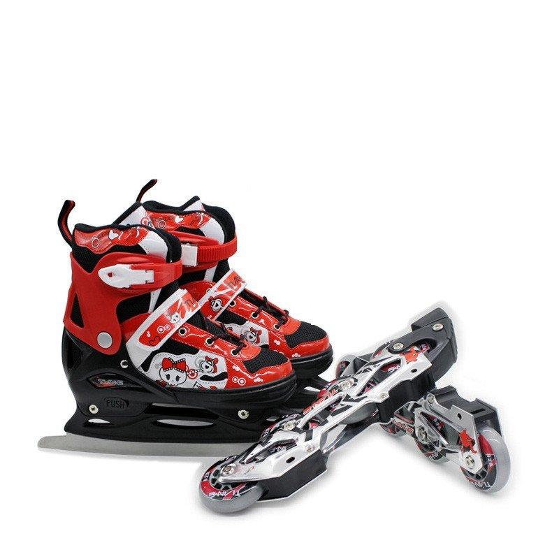 小孩保暖透气冰刀轮滑两用鞋 可爱猫儿童男女可调冰鞋可调花样冰刀鞋