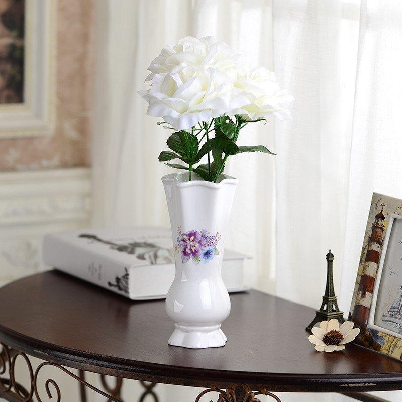 紫薇花瓶大号欧式白色陶瓷花瓶摆件客厅餐桌干花瓶小