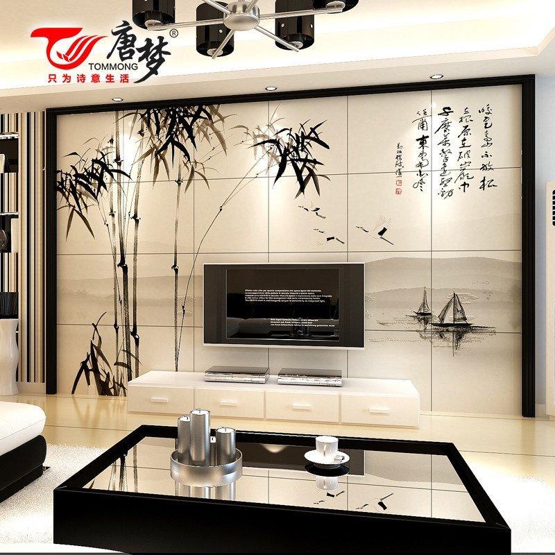 唐梦 瓷砖背景墙 电视背景墙瓷砖 中式艺术客厅 竹韵