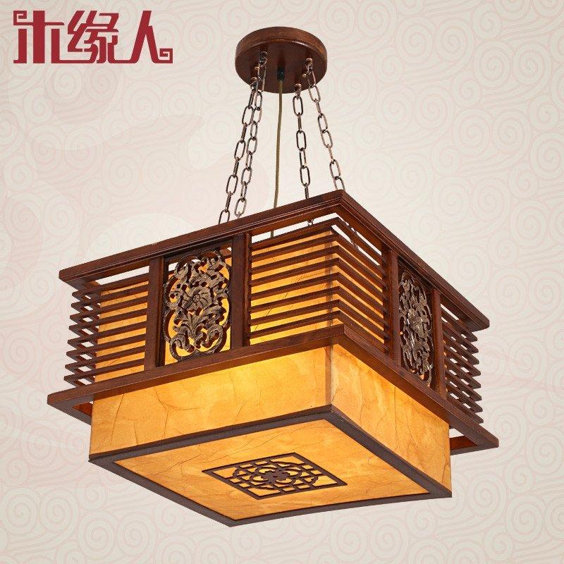 木缘人 新中式吊灯仿古典宫灯实木雕花大气客厅餐厅饭店书房门厅茶楼