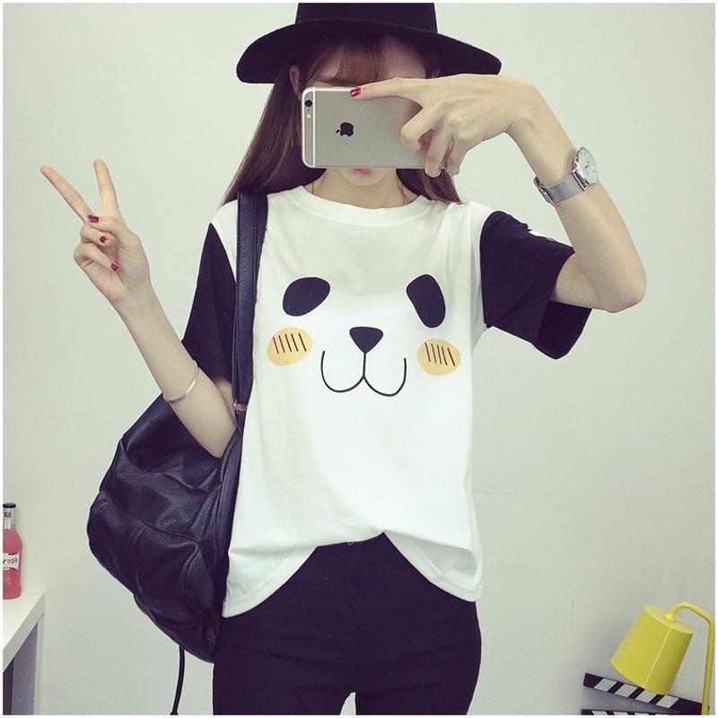 艾凝雪 2016年可爱小狗脚印短袖韩版t恤女 m 粉红色高清实拍图