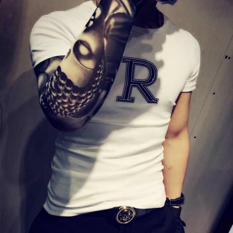 克林科斯 2016时尚夏季男短袖霸气纹身男潮衣服韩版新款时尚夜店字母图片