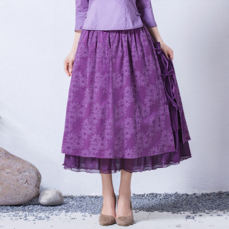 2016原创春装新款女装复古气质修身百搭半身长裙 云夕瑶 m 紫色暗花纹