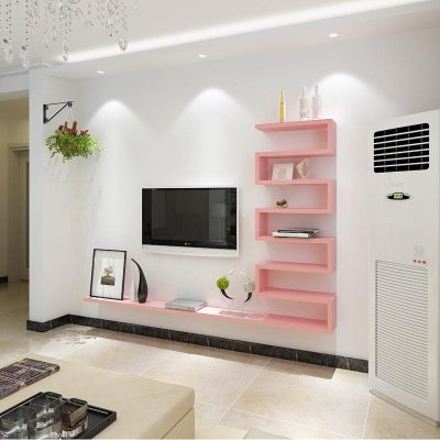 鹿梵 客厅背景墙装饰架造型隔板墙上置物架电视柜机顶盒架壁挂简约 b