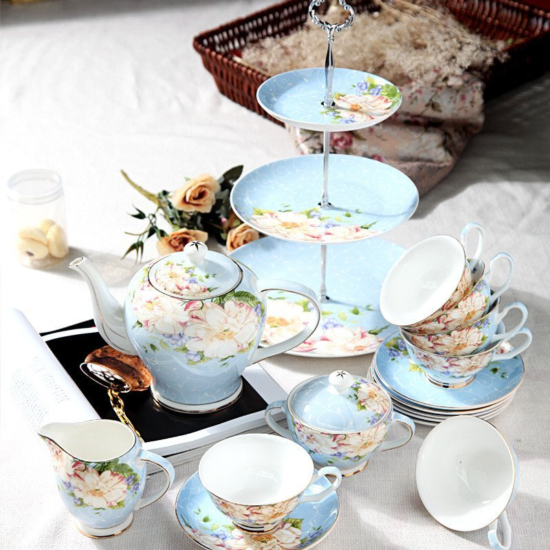 咖啡杯套装茶具15头咖啡具英式下午茶茶具红茶陶瓷 18头冰蓝之心高清