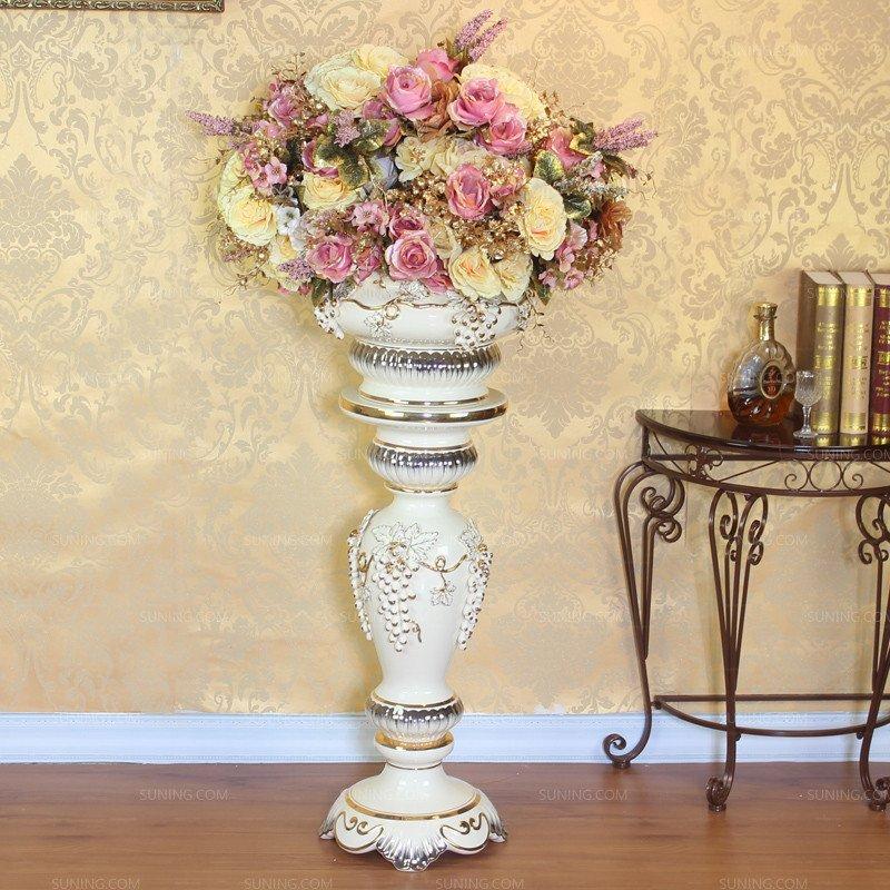 欧式现代罗马柱子摆件 客厅高档陶瓷落地花瓶大号结婚套装景德镇高清