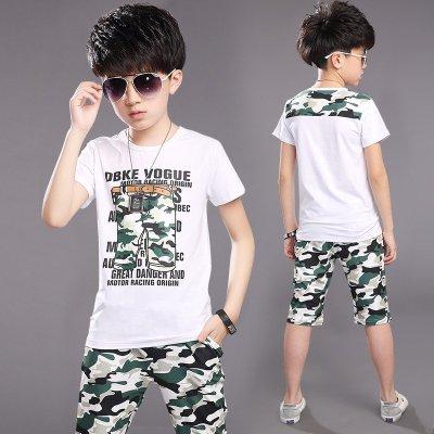 小阳童2016新款儿童套装 中大童男童装夏装男童短袖套装两件套 韩版