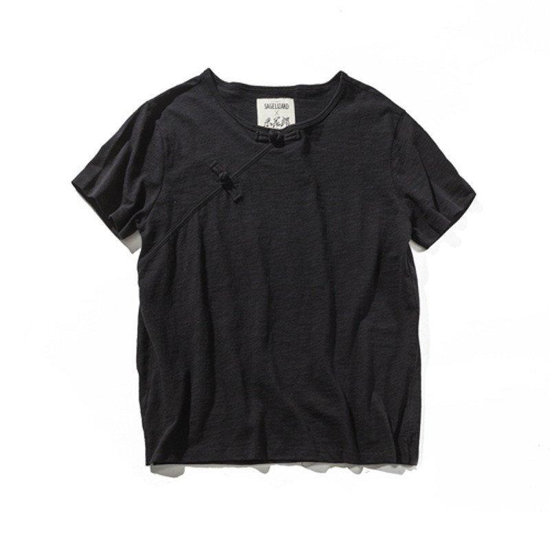 丹杰仕中国风男士短袖t恤 夏季休闲修身打底衫复古盘扣半袖t恤潮 2xl