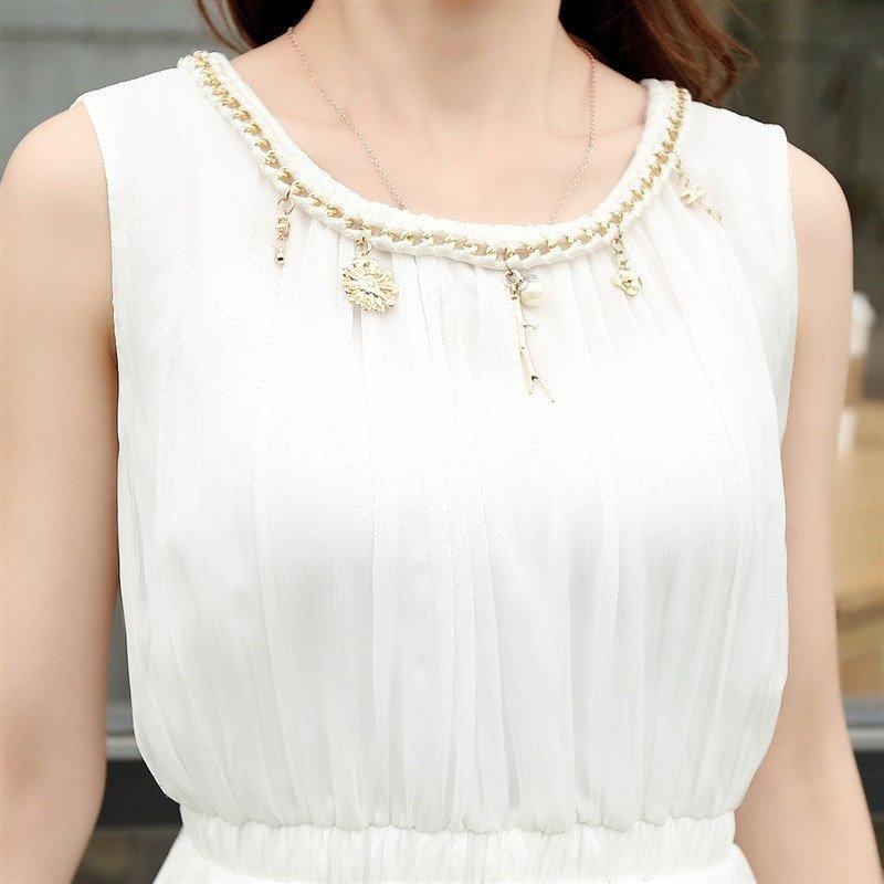 2016夏季新款女士波西米亚雪纺长裙韩版修身显瘦圆领裙子配项链清新
