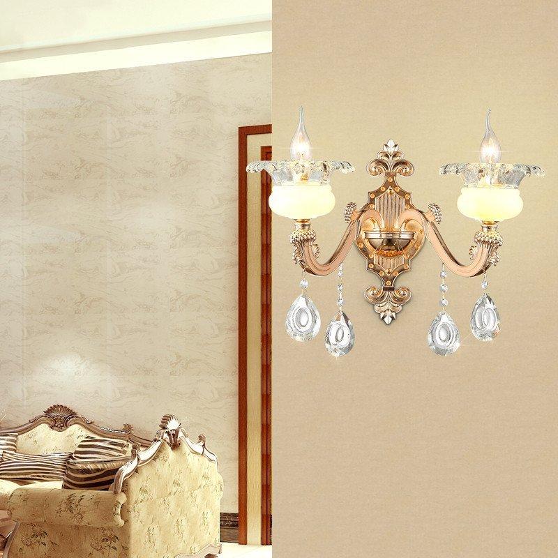 欧式水晶吊灯创意复古简欧卧室灯餐饭厅创意蜡烛灯复式楼梯个性灯