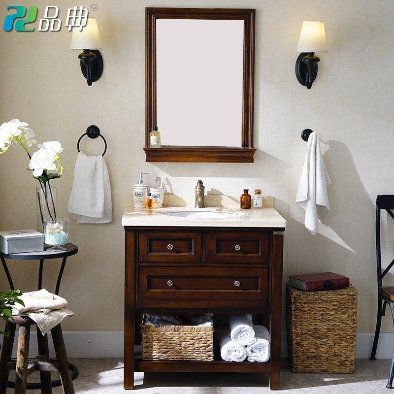 品典美式落地橡木浴室柜组合洗脸盆洗手台田园洗漱台盆卫生间m876 110