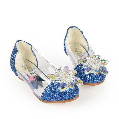 女童秋鞋小女孩子水晶鞋灰姑娘儿童高跟鞋公主皮鞋水钻单鞋闪 银色 28