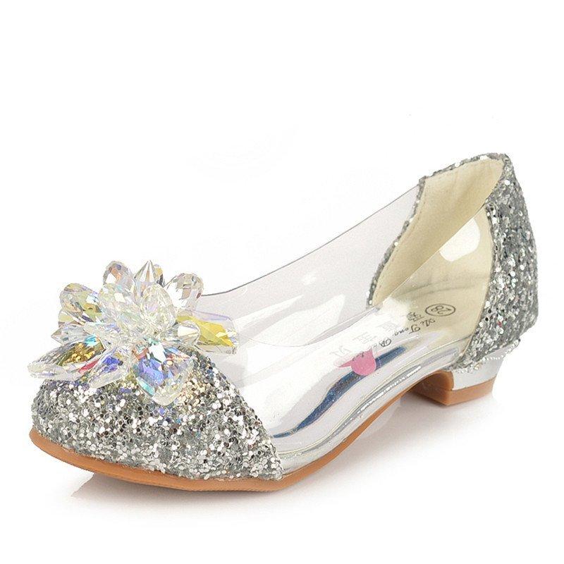 女童秋鞋小女孩子水晶鞋灰姑娘儿童高跟鞋公主皮鞋水钻单鞋闪 银色 29