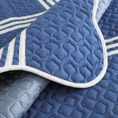 蓝色布艺防滑沙发垫简约现代坐垫四季地中海组合皮