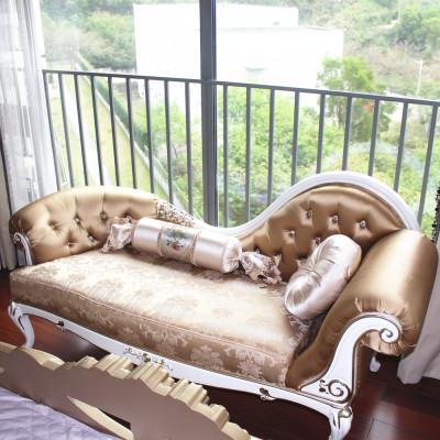 贵妃榻 布艺贵妃椅 卧室躺椅真皮布艺实木沙发床美人榻美式简约新古典